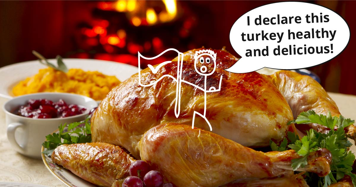 A roast turkey garnished with fresh herbs, side dishes in the background. A little stick figure stands on the turkey leg and plants a flag. Text reads: I declare this turkey healthy and delicious!