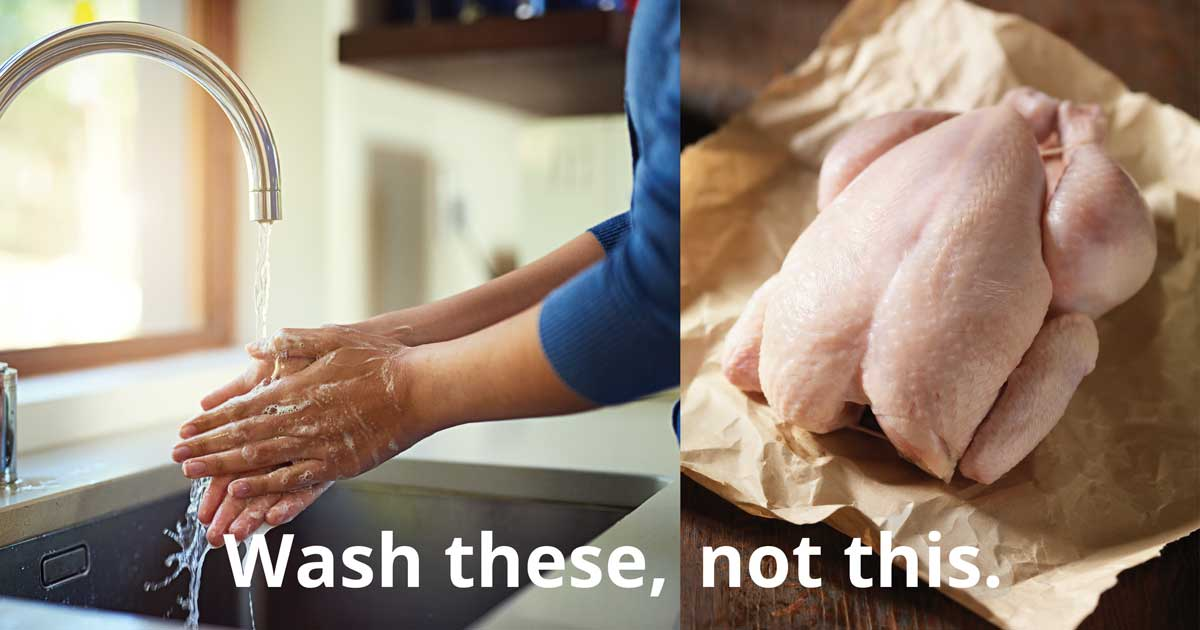 Two images side by side. On the left, a person washes their hands under running water. On the right, a raw turkey sits on butcher paper. Text reads: Wash these, not this.