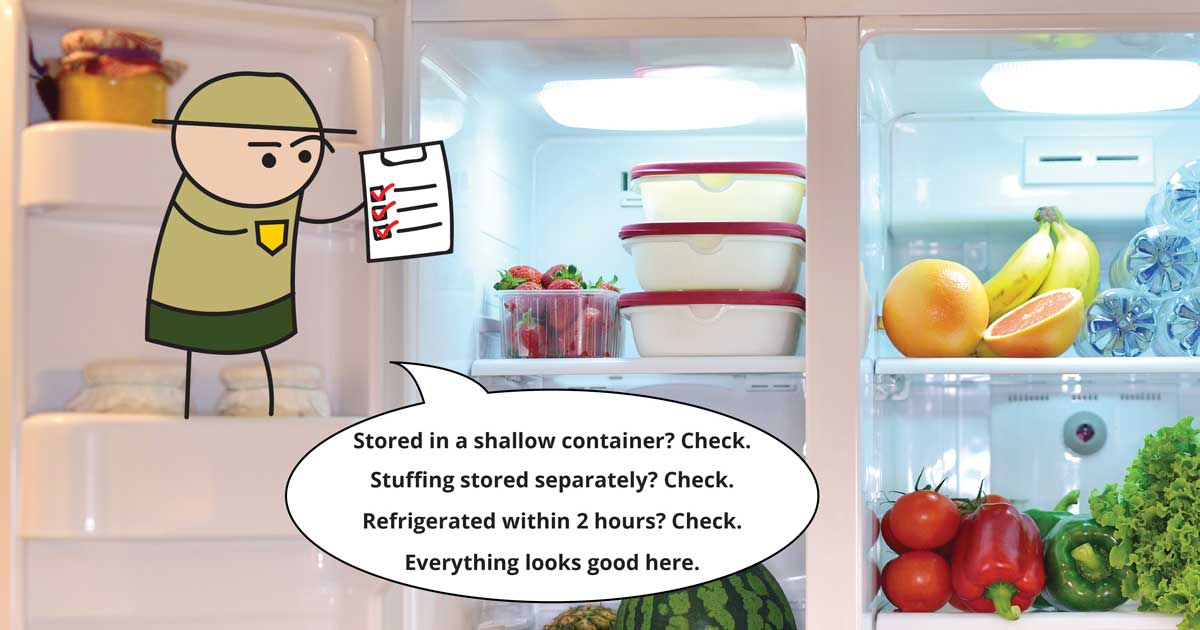A little cartoon man stands on the shelf inside a refrigerator holding a checklist. Text bubble reads: Stored in a shallow container? Check. Stuffing stored separately? Check. Refrigerated within 2 hours? Check. Everything looks good here.